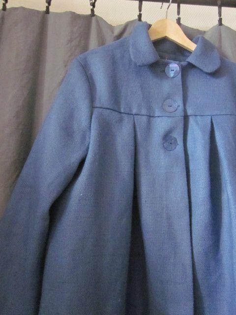 manteau d'été bicolore en lin bleu france et noir (19)