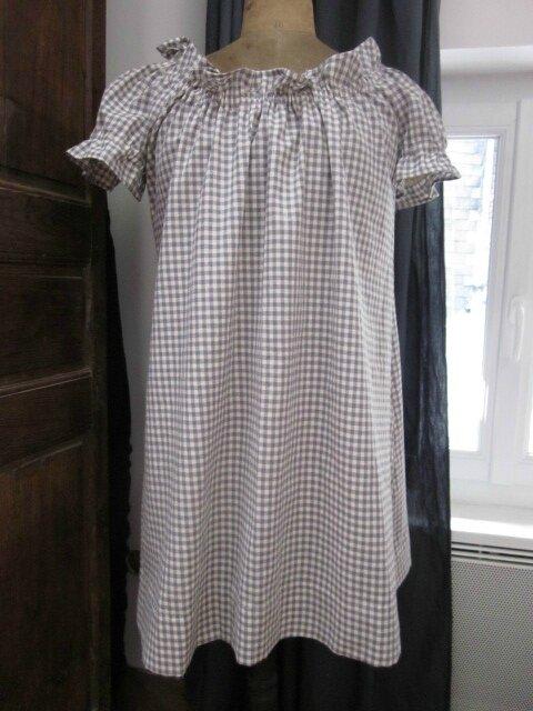 Robe ALBANE en coton vichy fris et écru (5)