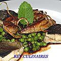 Filets de truite,foie gras, tartare de petis pois à la menthe et jus d' oignon
