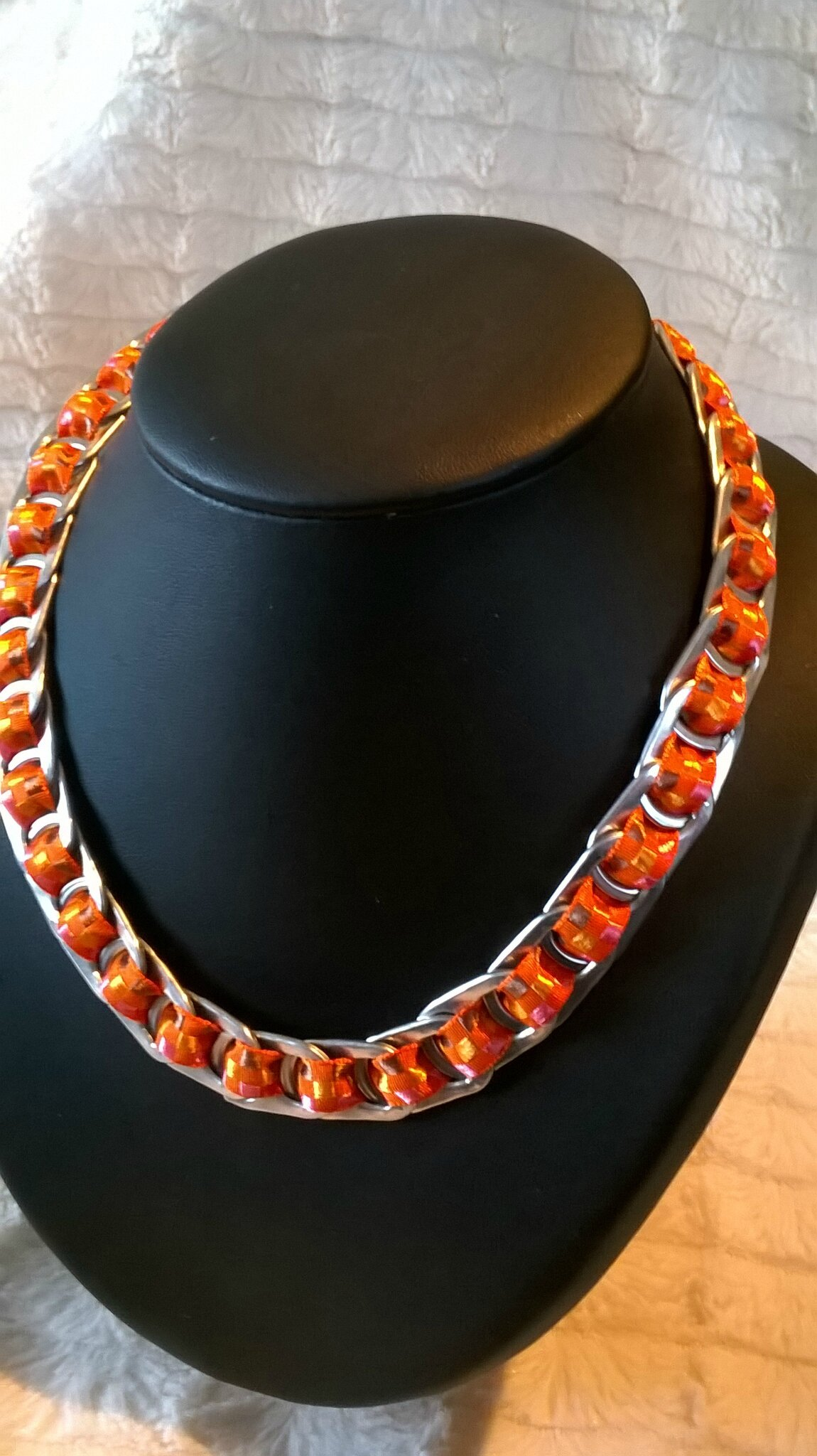 collier ruban madras orange