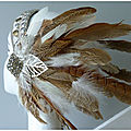 2016 Headband tribal plumes blanche et beige