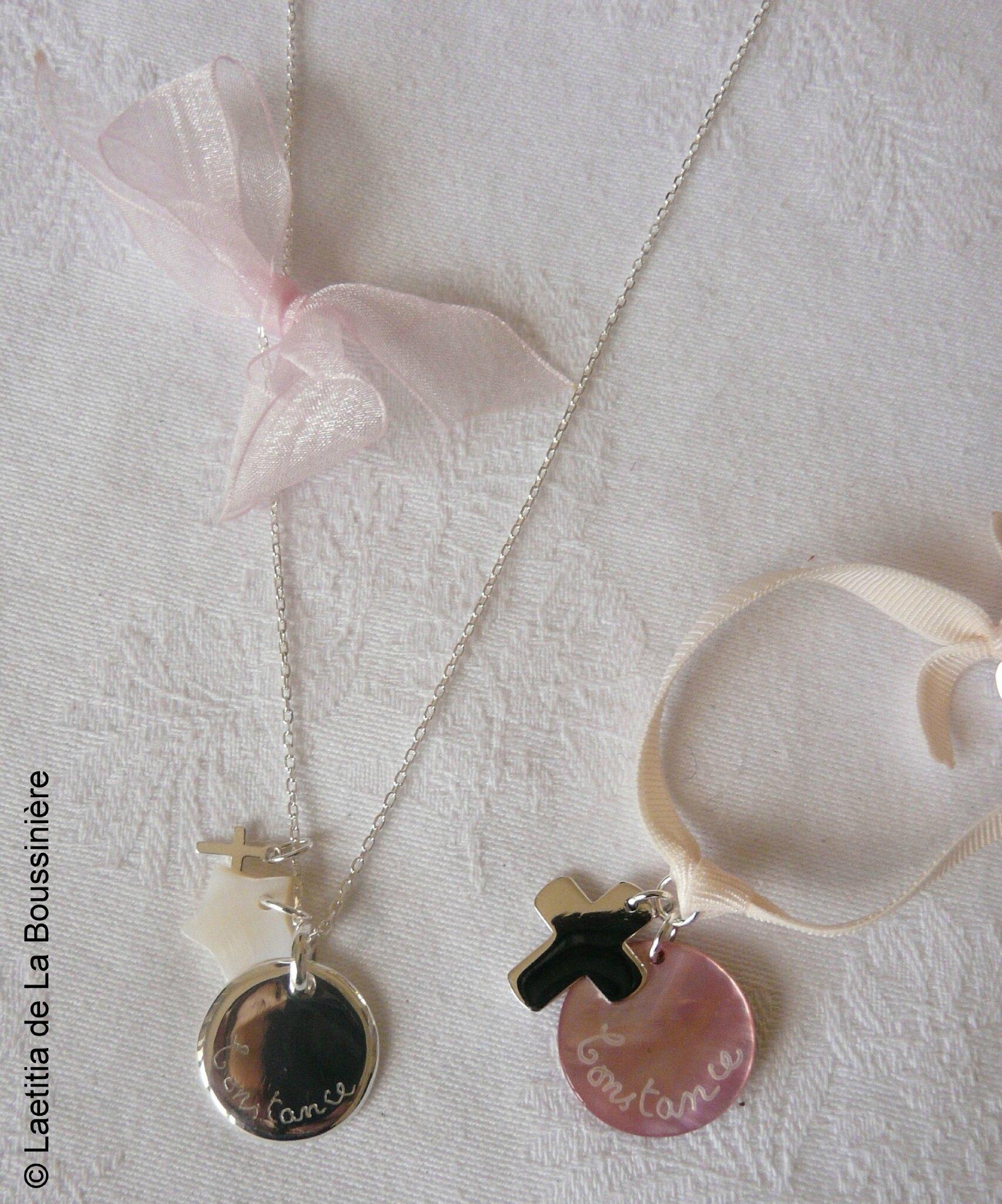 Ensemble collier médaille, étoile en nacre et mini Croix en argent et bracelet sur ruban élastique Croix 17 en argent massif et médaille en nacre