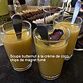 Soupe butternut à la crème de coco et au canard fumé