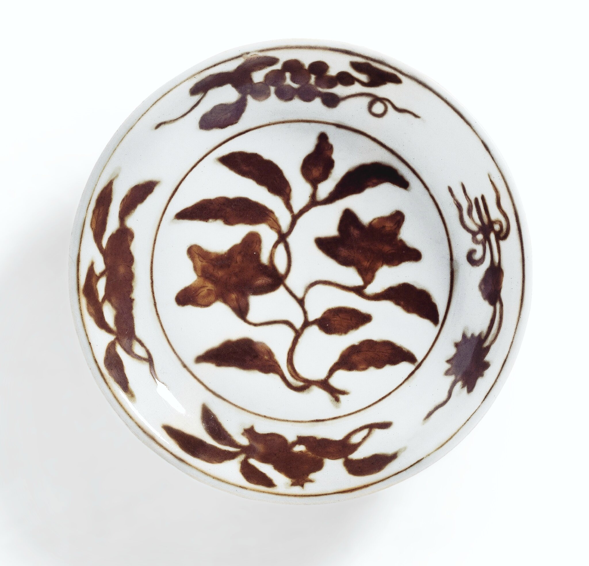 A rare brown-decorated 'gardenia' dish; Mark and period of Zhengde