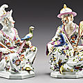 A pair of meissen seated chinoiserie figures, circa 1740