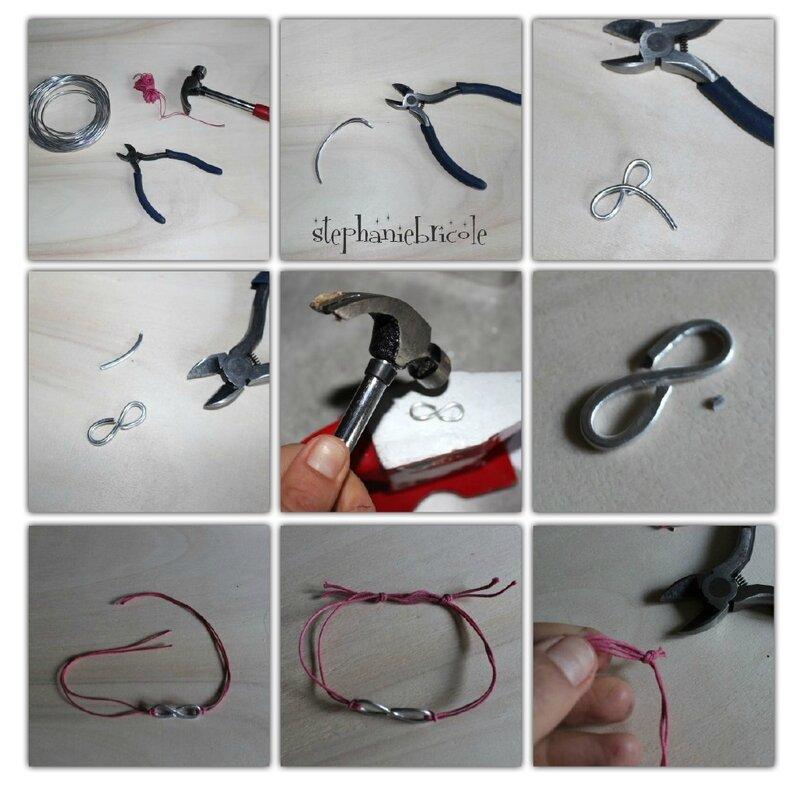 tuto bracelet en fil d'alu martelé