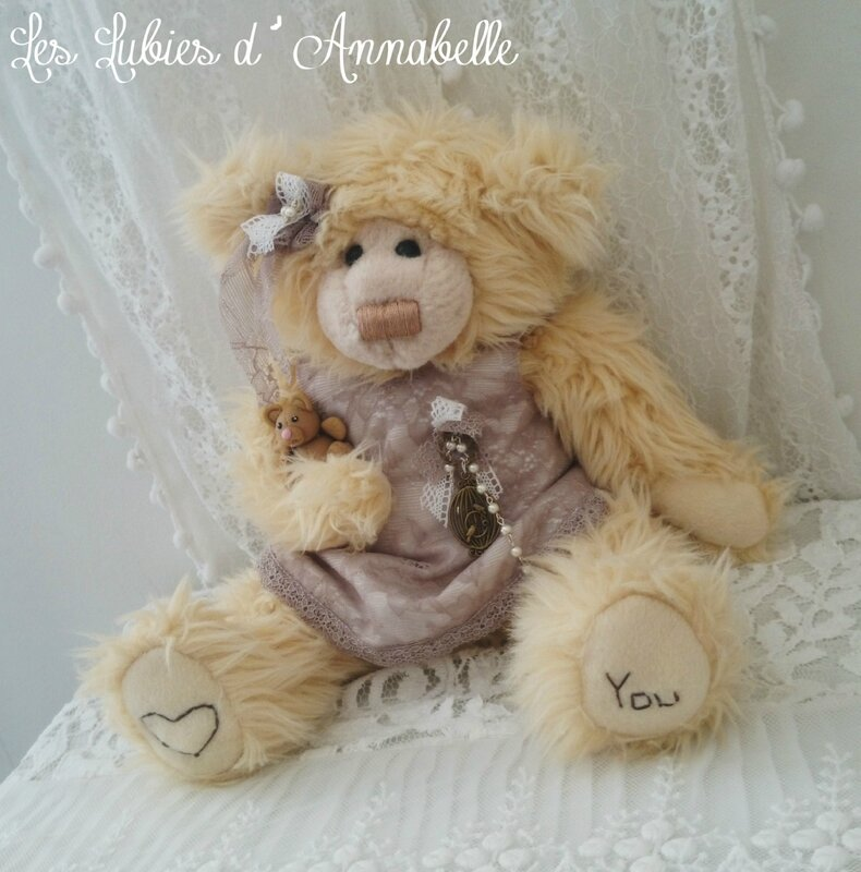 Ours Shabby Chic et sdon doudou