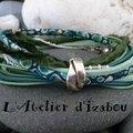 Bracelet multimatières dans les tons bleu-vert composé de liberty, cuir, chaîne, coton ciré !