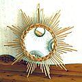 Miroir soleil en rotin/osier vintage