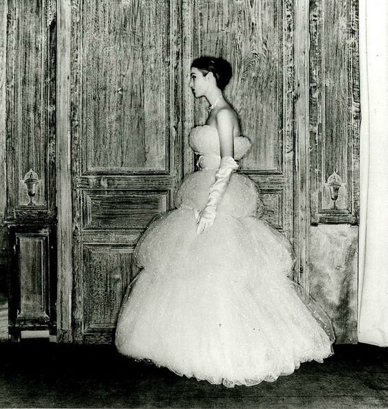 Point d'esprit tulle evening gown by Balenciaga, 1954