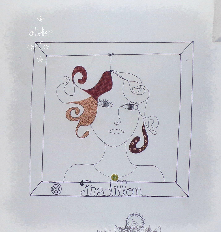 tableau portrait fredillon fil de fer
