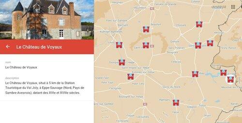 AVESNOIS Carte des châteaux