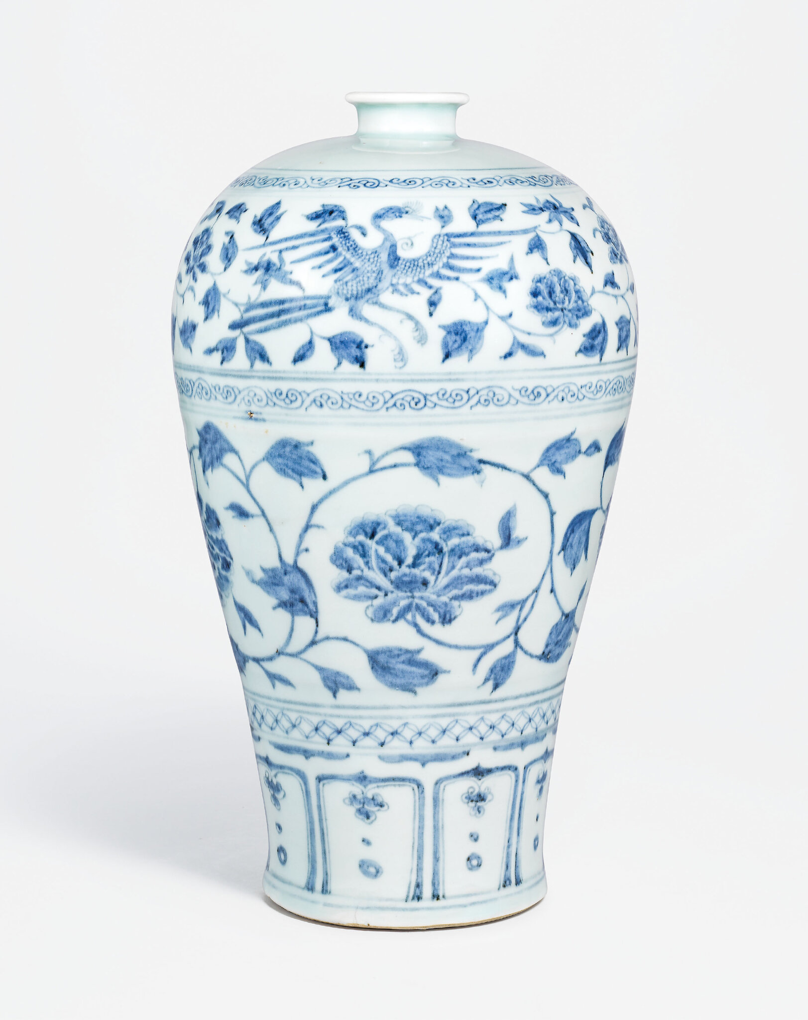 A superb large blue and white meiping, Yuan dynasty (1279-1368)