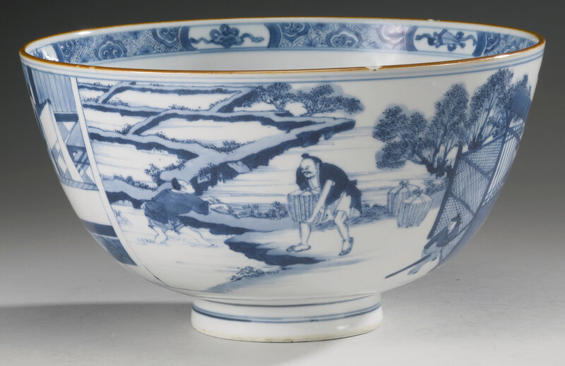 A large blue and white 'figural' bowl, Qing dynasty, Kangxi period (1662-1722)2