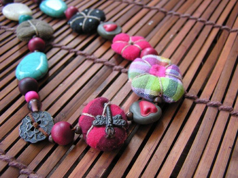 Collier court - Turquoise, chocolat et rose