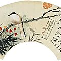 Zhang daqian (chang dai-chien) 1899-1983; luo dunhuan 1874-1954, bird and flowers, poem in running script, 1937