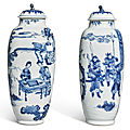 A pair of blue and white 'figural' jars and covers, qing dynasty, kangxi period (1662-1722)