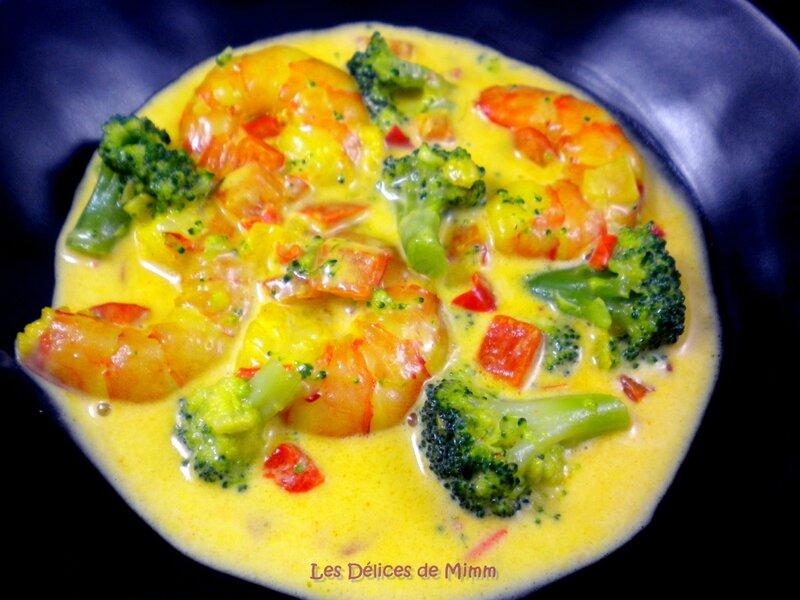 Gambas (scampis) aux petits légumes et au safran 2