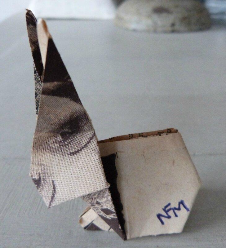 Lapin origami papier ancien (15)