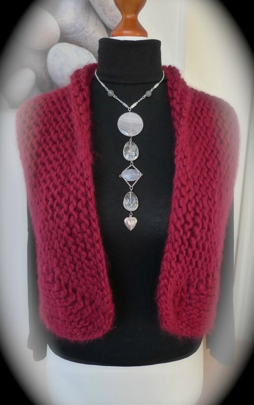 Collier pendentif Quartz rose et cristal de roche