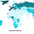 Alcohol consumption per capita, 2008