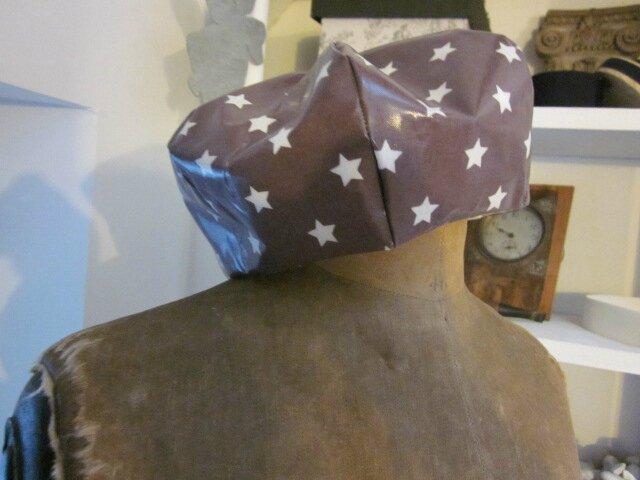 Chapeau de pluie AGLAE en coton enduit à étoile blanche (3)