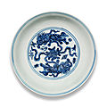 A blue and white 'buddhist lions' saucer-dish, xuande six-character mark and of the period (1426-1435)