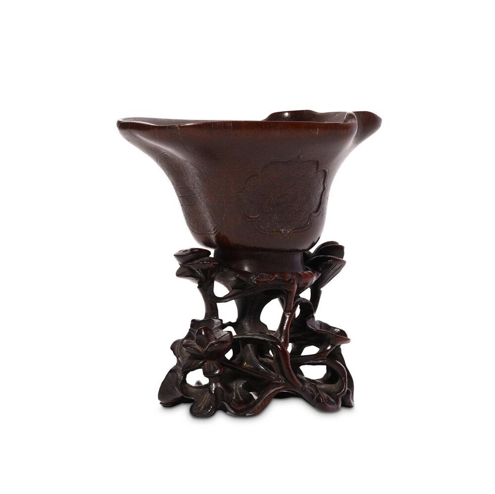 A rhinoceros horn libaton cup, Qing Dynasty, 18th Century