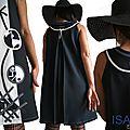 Robe trapèze Ecru/ bleu électrique/ Noire Tendance Femme 2015 Graphique & applications Stylisées
