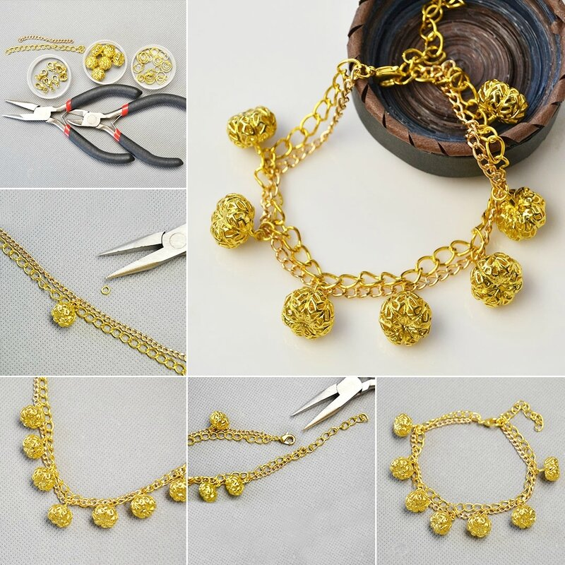 How-to-Make-Gold-Pumpkin-Filigree-Beads-Pendant-Bracelet
