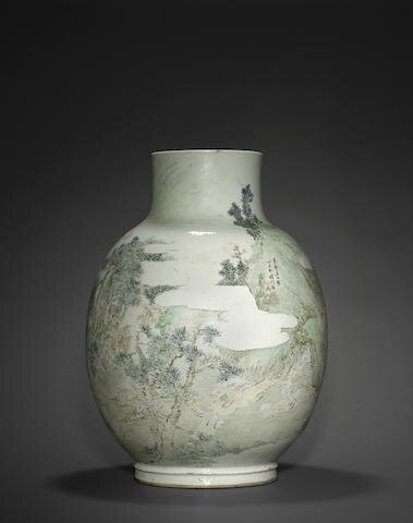 A massive qianjiangcai enameled 'Hundred Deer' vase, Cheng Men (1833-1908), dated by inscription to 1877