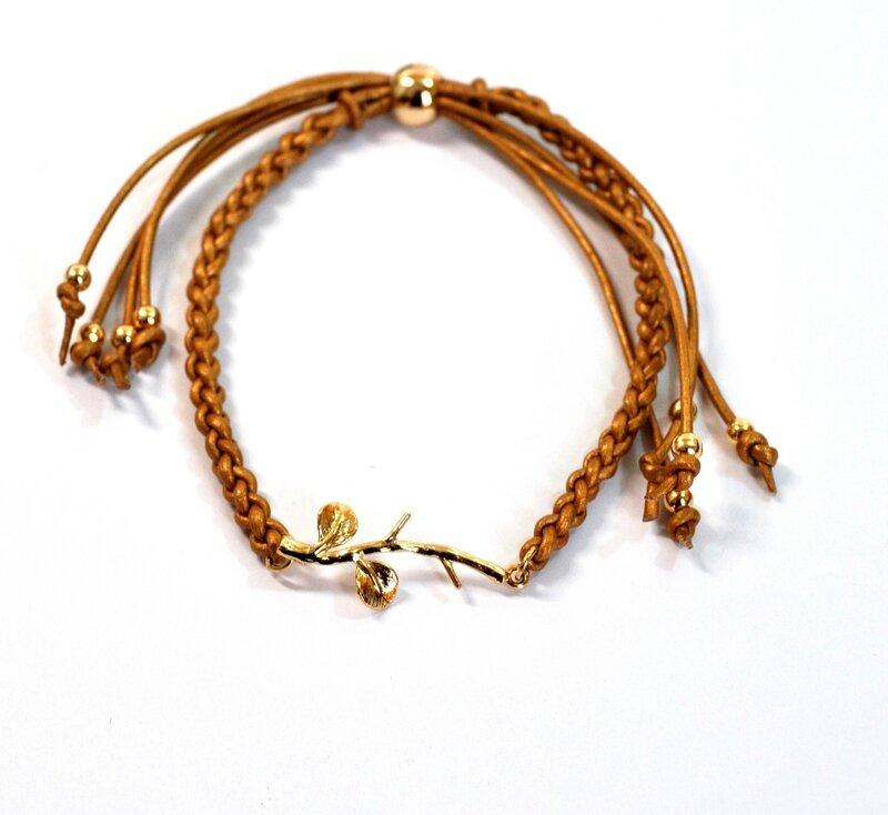 branche et cuir marron clair