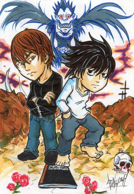 FANART DEATH NOTE L versus Raito Light Yagami Ryuuku Shinigami DJIGUITO