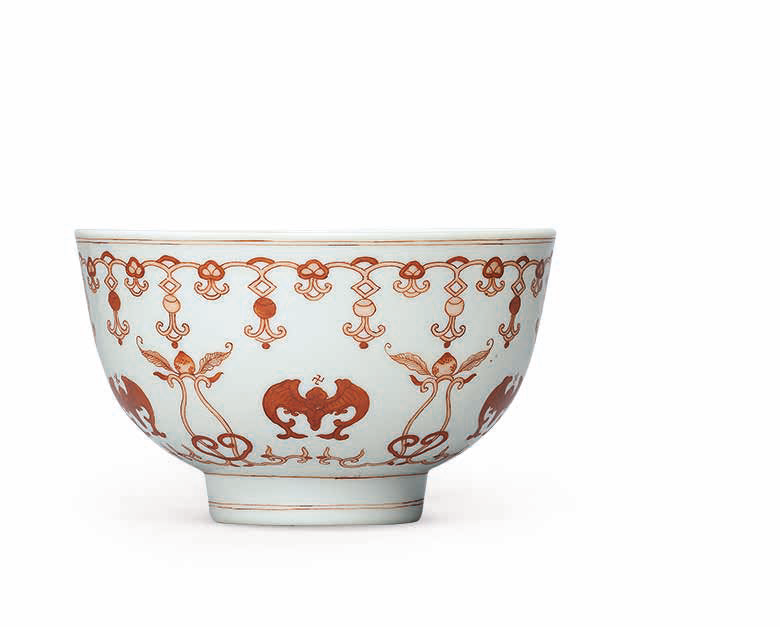 An iron-red decorated 'Five Bats' bowl, Daoguang six-character seal mark in underglaze blue and of the period (1821-1850)