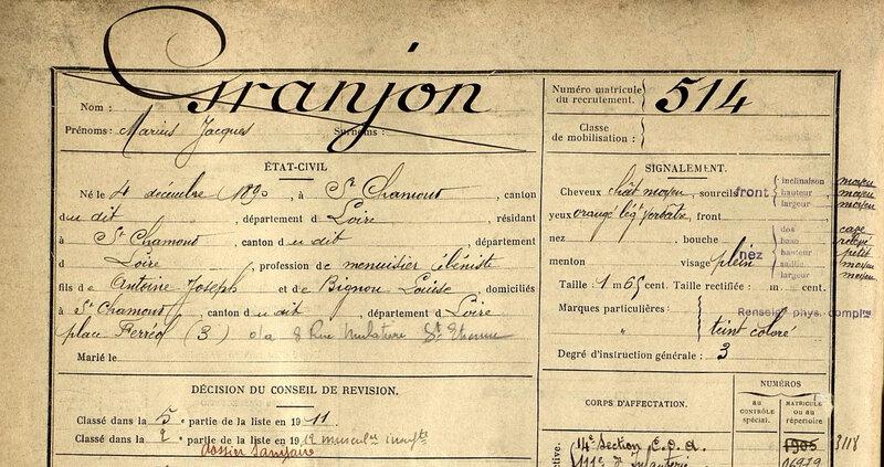 Granjon Marius, fiche matricule (1)