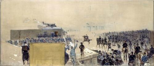 Binet, la sortie (esquisse hôtel de ville, 1889)