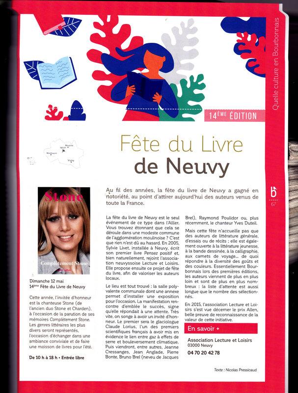 Artcile Neuvy Terre des Bourbons 2019