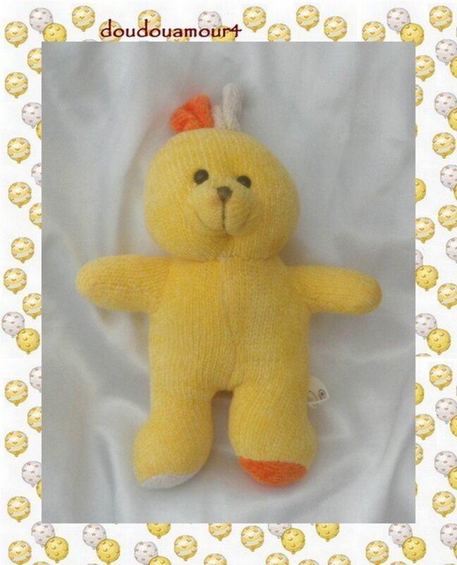 Doudou Peluche Lapin Jaune Orange Tricot Cp Internationnal 25 cm