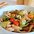 Salade d'haricots verts, pommes de terre, tomates cerises et jambon de poulet