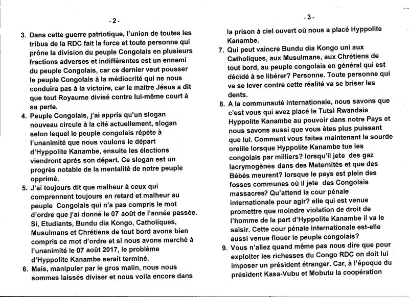 LE MESSAGE PATRIOTIQUE DU GRAND MAITRE DE LA SAGESSE KONGO AU PEUPLE CONGOLAIS b