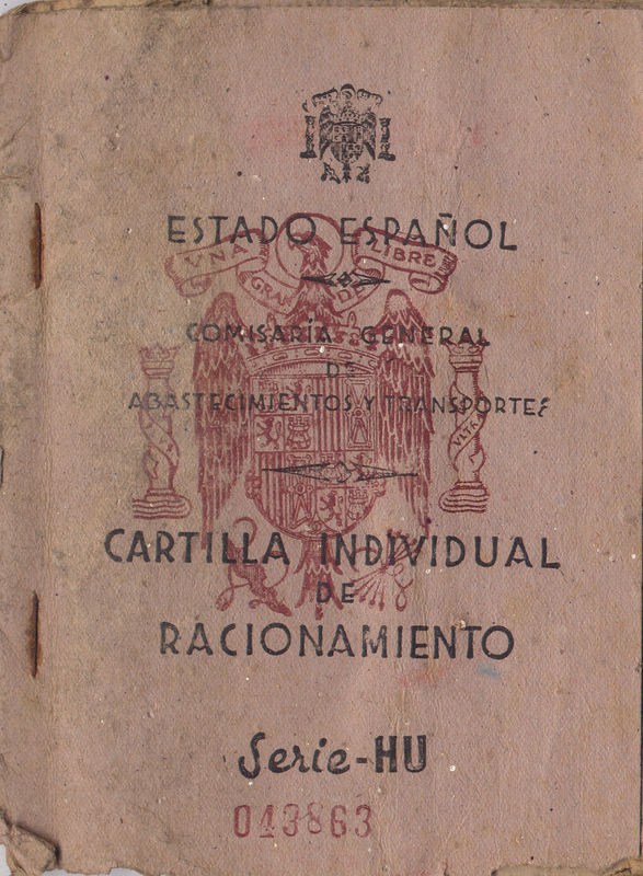 1943,Carte de rationnement de Pierre, Miranda de Ebro