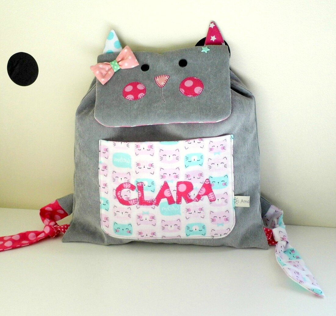 Sac à dos chat maternelle