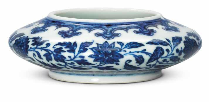 A fine Ming-style blue and white 'floral scroll' water pot, Yongzheng six-character mark in underglaze blue within a double circle and of the period (1723-1735)