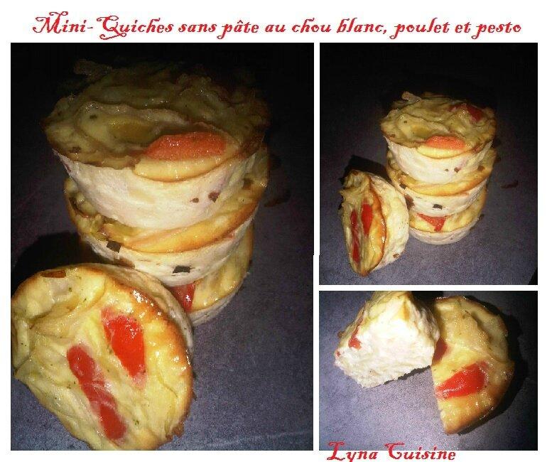 Mini-quiches sans pâte au chou blanc, poulet et pesto