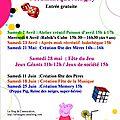 Programme des animations ludothèques pour vos enfants