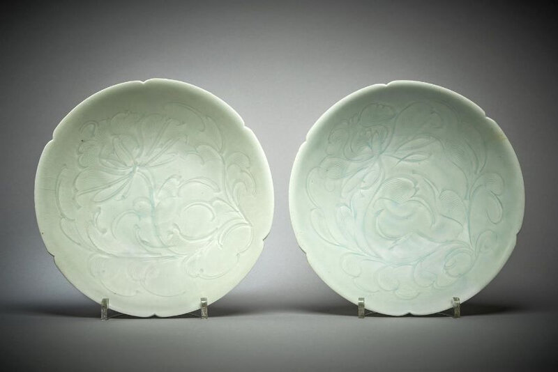 A pair of Chinese qingbai lobed bowls, Song Dynasty (960-1279)