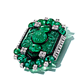 An art deco emerald, diamond and enamel brooch, cartier