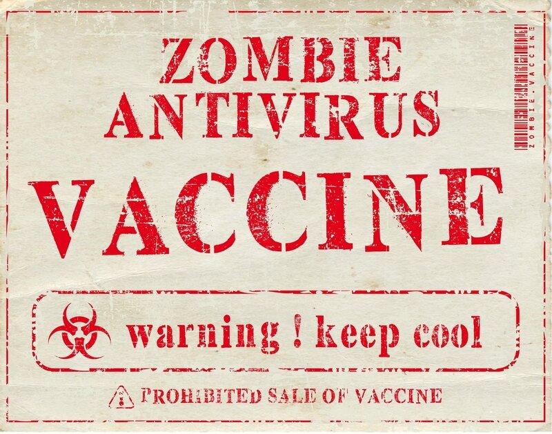 label halloween virus zombie antivirus serum vaccine