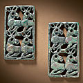 A pair of small bronze openwork plaques, northern hebei province, 6th-5th century bc