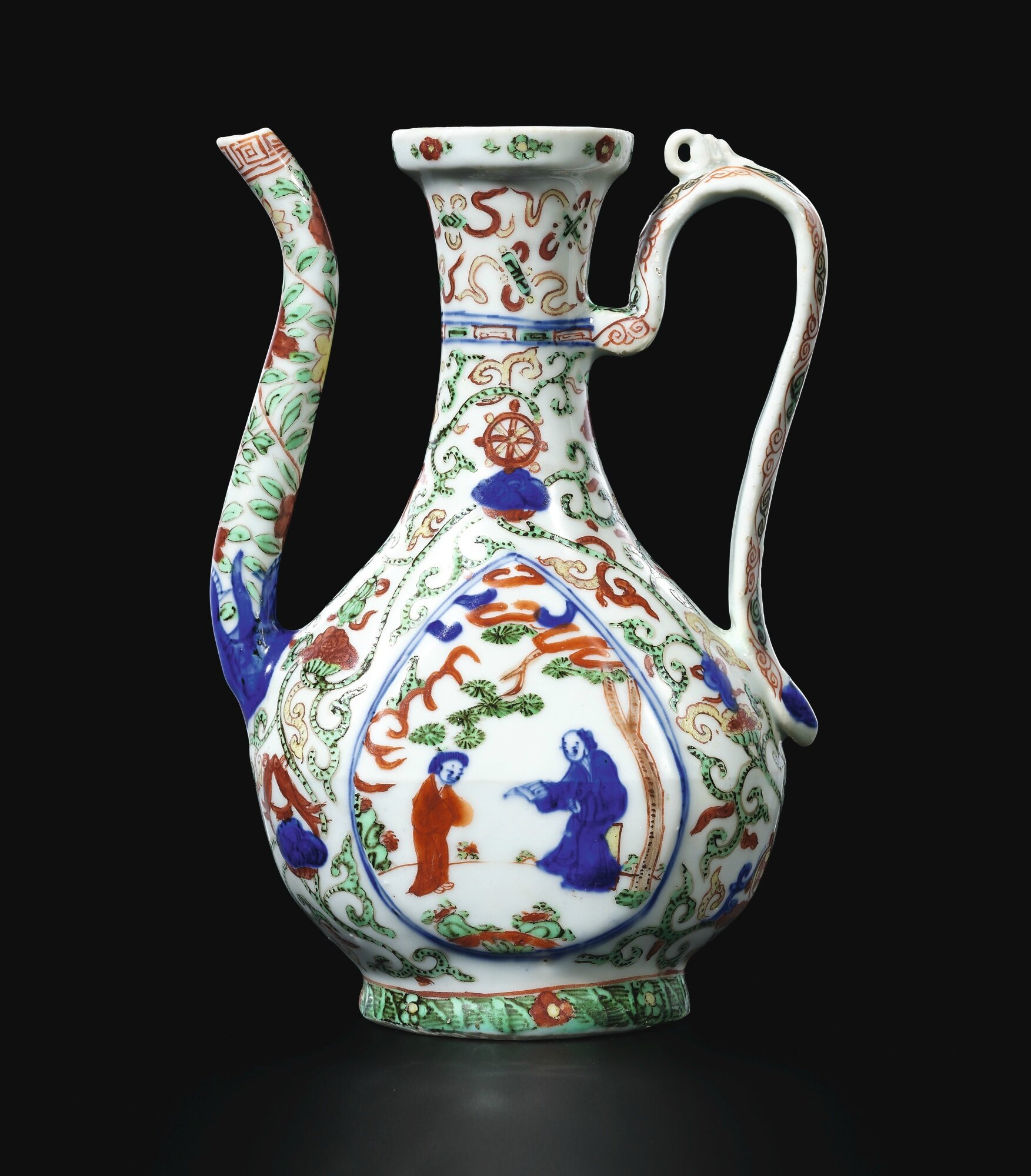 A rare wucai 'figures' ewer, Mark and period of Wanli (1573-1619)
